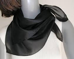 square neck scarf black silk bandana style scarf 21x21