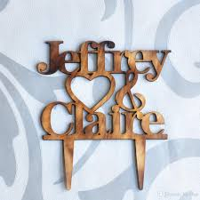 2018 Rustic Heart Wedding Cake Topper Personalized Bride And Groom Names Custom Wood From Hls21cn 804