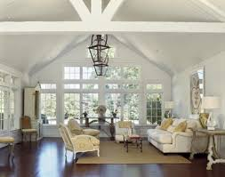 lighting vaulted ceiling living room exposed ceiling beams