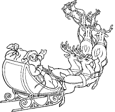 Santa And His Sleigh Free Coloring Pages For Christmas