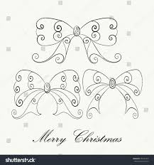 Hand Drawn Christmas Bows Set For Adult Anti Stress Coloring Page Isolated On White Background