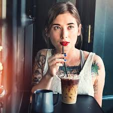 Download Hipster Woman Drinking Iced Coffee Concept Stock Photo