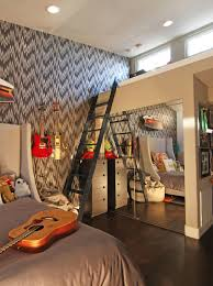 loft bed with closet underneath Kids Eclectic with artwork chevron
