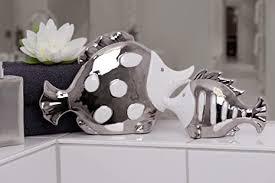 fisch pärchen fischepaar weiß silber porzellan dekoration badezimmer 22 5 23 cm