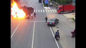 100 Dump Trucks Videos Motorcyclist Cheats Death After Crashing Into Fuel Tank