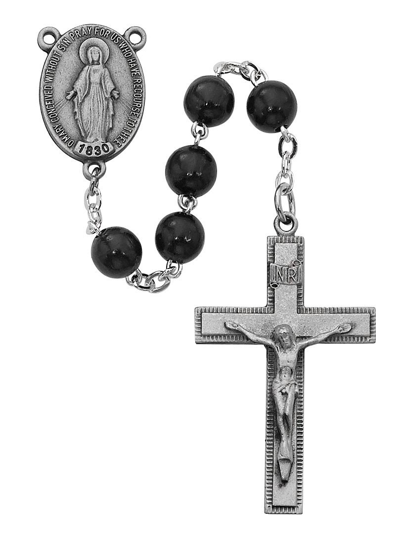 Black Round Wood Rosary
