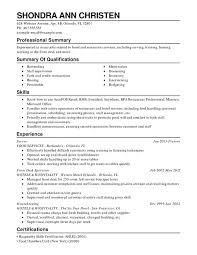 Restaurant Food Service Combination Resume