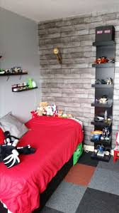 Minecraft Bedroom Using Ikea Furniture In Black Red Grey Colour Scheme Wooden Plank