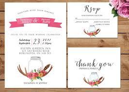 Rustic Bohemian Floral Wedding Invitation Suite Printable