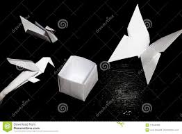 Download Origami Folding Paper Crane Parrot Butterfly And A Box Stock Photo