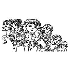 Dora Along With Friends Running Having Party Coloring Sheet