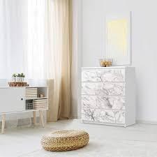 folie für möbel ikea malm kommode 4 schubladen design marmor weiß