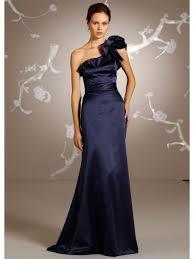 line one shoulder floor length long navy blue satin bridesmaid