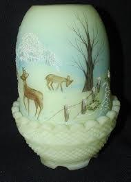 Vintage Fenton Fairy Lamps by Vintage Fenton Fairy Lamp Satin Custard Glass With Handpainted