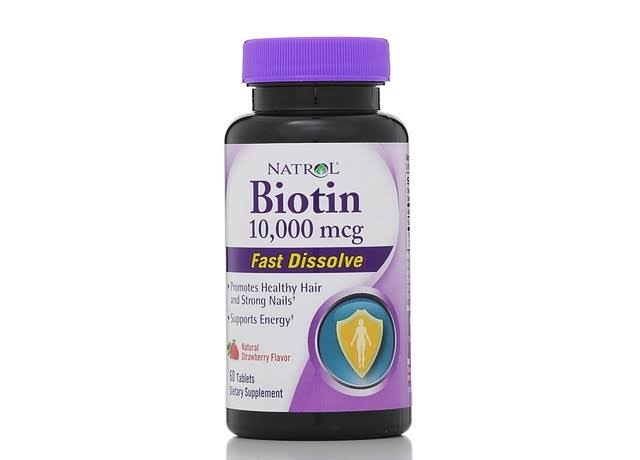 Natrol Biotin 10000mcg Fast Dissolve Energy Support - Strawberry, 60 Tablets