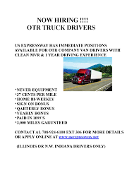 100 Hiring Truck Drivers US Expressway OTR Shorty Your Chicago South