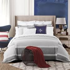 Tommy Hilfiger Curtains Mission Paisley by Tommy Hilfiger Woodford Grey And White Stripe Cotton 3 Piece Duvet