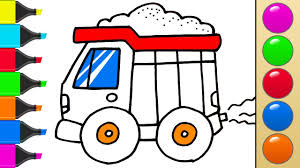 How To Draw Dump Truck For Kids. Learn Colors For Kids. Coloring ... How To Draw Dump Truck Coloring Pages Kids Learn Colors For With To A Art For Hub Trucks Boys Make A Cake Hand Illustration Royalty Free Cliparts Vectors Printable Haulware Operations Drawing Download Clip And Color Page Online