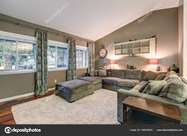 Paint Colors Living Room Vaulted Ceiling by Vaulted Ceiling Family Room With Taupe Walls Paint Color U2014 Stock