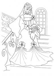 Detail Princess In Her Wedding Dress Coloring Sheets
