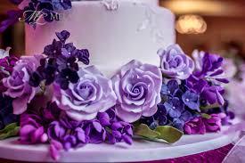 white and purple ct wedding cake