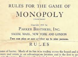 PARKER BROTHERS 1935 TRADE MARK MONOPOLY GAME