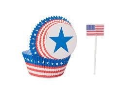 Patriotic Cupcake Cases And Picks 24 Count