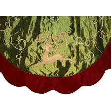 56 Inch Green Satin Reindeer Design Tree Skirt With Velvet Border