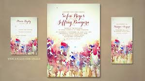 Fall Wedding Invitation With Flowers Watercolor