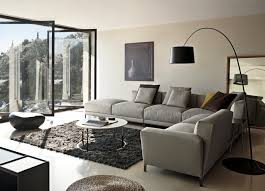 living room l shaped couch overstuffed gray color with standing