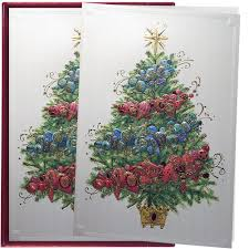 Papyrus Greetings Boxed Christmas Cards Ombre Tree 12pk