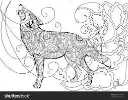 Wolf Animal Coloring Stock Vector 385750030 Throughout Pages For Adults