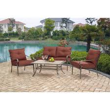 Red Patio Furniture Decor by Mainstays Charleston Park 4 Piece Patio Set Red Walmart Com