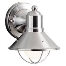 kichler nautical outdoor wall light in brushed nickel 9021ni