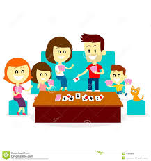 With Kids By Playing Family Fun Card Games In Flat Cartoon Style