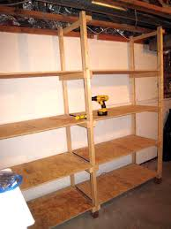 Making A Wooden Shelving Unit by How To Build Inexpensive Basement Storage Shelves One Project