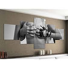 leinwandbild 5 tlg 200cmx100cm frau mann erotik pose schlafzimmer schwarz weiß bilder druck auf leinwand bild kunstdruck mehrteilig holz