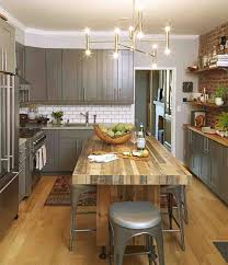 Oak Wooden Kitchen Floors With Luxury Crystal Lamp Decro And Large Square Rustic