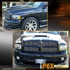 2002 2005 dodge ram 1500 2500 3500 black headlights clear lens
