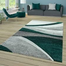 wohnzimmer teppich kurzflor mit wellen muster in