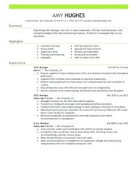 Sample Mcdonalds Resume Manager Shift Department Crew