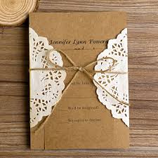 Vintage Rustic Lace Pocket Wedding Invitations EWLS002
