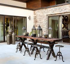 Rustic Outdoor Decor Patio With Sliding Door