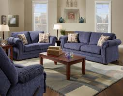 100 Modern Living Room Couches Plush Blue Fabric Casual Sofa Loveseat Set