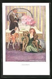 künstler ak robert sedlacek mann betrachtet die frau mit ihren drei hunden im schlafzimmer