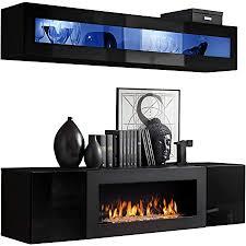 moderne wohnwand mit kamin bioethanol flyer n2 elegante anbauwand mit kamineinsatz schrankwand wohnzimmer set tv lowboard vitrine
