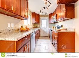 New Cherry Wood American Kitchen Interior Stock Image Image