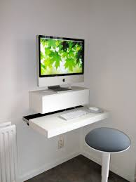 Ikea Linnmon Corner Desk Hack by Minimalist White Imac Floating Desk Wall Mounted Ikea U2026 Pinteres U2026