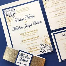 Royal Blue And Gold Invitation Suite