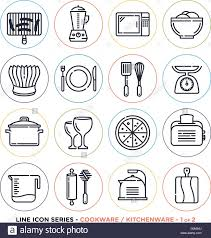 symbole cuisine ustensiles et vaisselle line icons set vector collection de